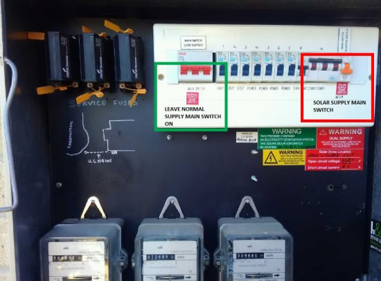 Photograph of a switchboard indicating the solar main supply switch.