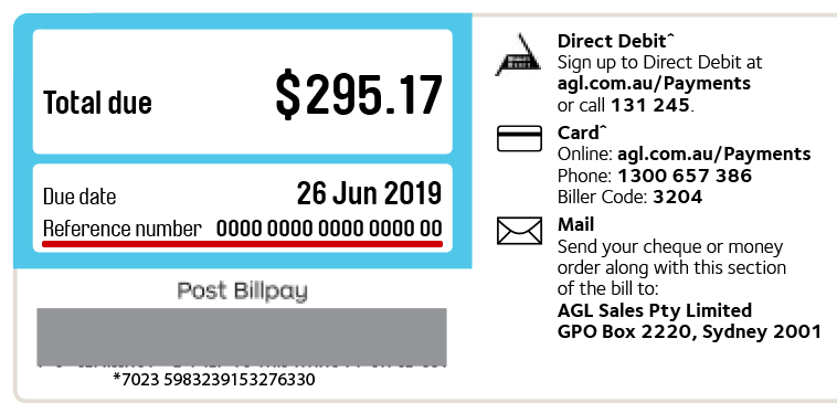 Example of where to find your reference number on your bill