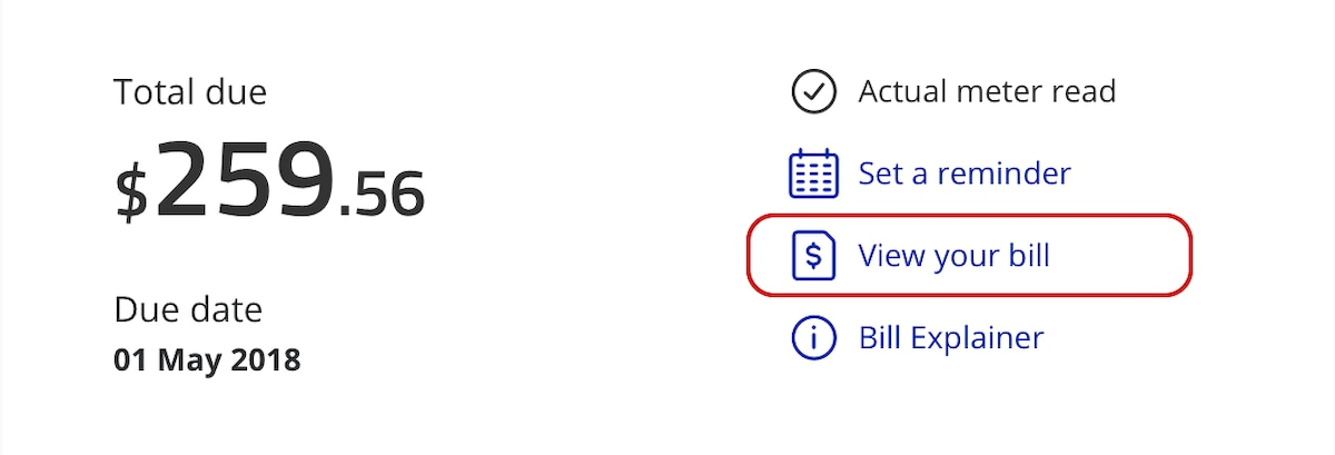 An example of where to find View your bill on your eBill.